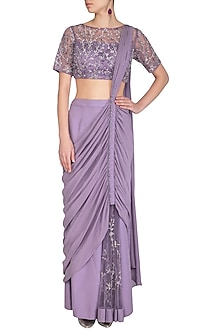 Lilac Embroidered Drape Saree Set by AWIGNA by Varsha and Rittu