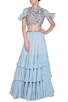Ice Blue Embroidered Crop Top With Skirt by AVIGNA by Varsha and Rittu
