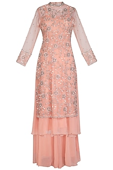 Peach Embroidered Anarkali Set by AWIGNA by Varsha and Rittu