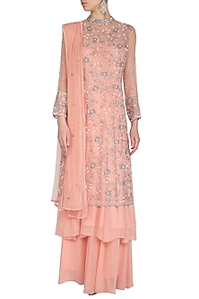 Peach Embroidered Anarkali Set by AVIGNA by Varsha and Rittu