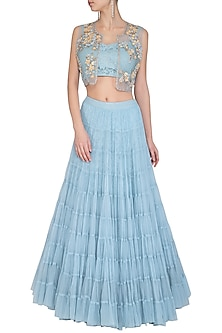 Ice Blue Crop Top With Skirt & Embroidered Shrug Jacket by AVIGNA by Varsha and Rittu