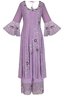 Lilac Embroidered Anarkali Set by AWIGNA by Varsha and Rittu