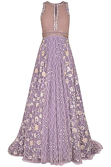Lilac Embroidered Gown by AWIGNA by Varsha and Rittu