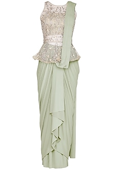 Mint Green Drape Saree With Embriodered Blouse by AWIGNA by Varsha and Rittu