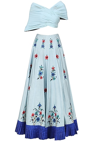 Powder Blue Embroidered Lehenga with Drape Blouse Set by AWIGNA by Varsha and Rittu