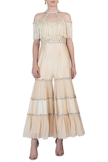 Off White Tassels Embroidered Jumpsuit by AWIGNA by Varsha and Rittu