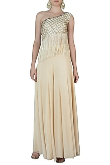 Off White Embroidered Crop Top with Palazzo Pants by AWIGNA by Varsha and Rittu