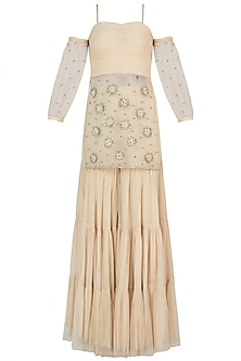 Off White Embroidered Kurta with Sharara Pants by AWIGNA by Varsha and Rittu