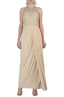 Off White Embroidered Drape Gown by AWIGNA by Varsha and Rittu