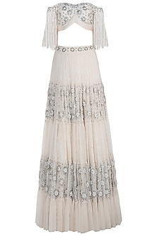 Off White Tassels Embroidered Lehenga Set by Avigna By Varsha And Rittu