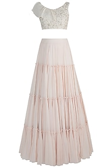 Off White Embroidered Blouse With Tiered Lehenga Skirt by AWIGNA by Varsha and Rittu
