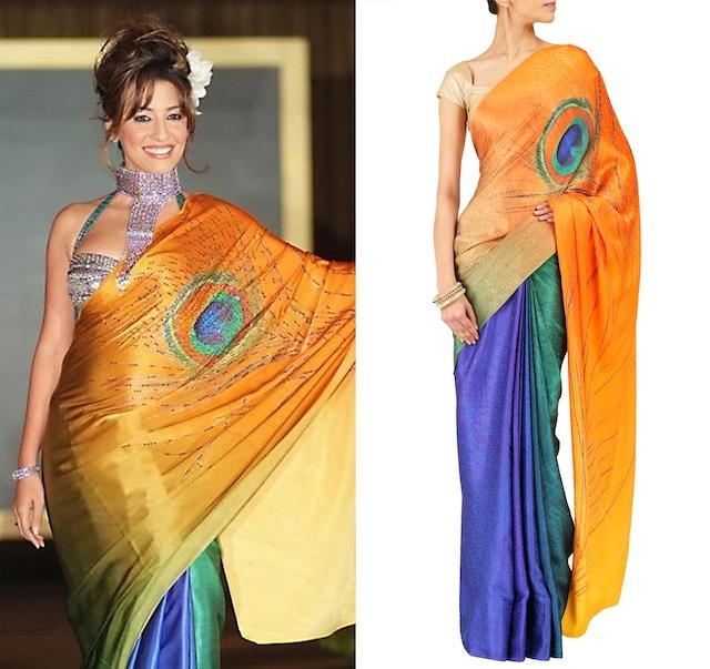 Peacock print sari in satin jacquard by Satya Paul