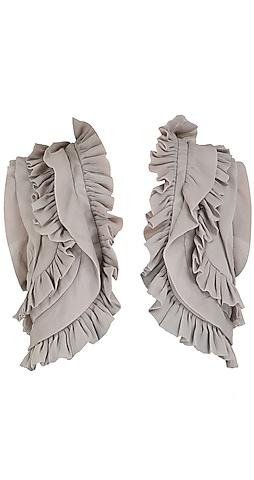 Grey ruffle shrug jacket by Sonam Kapoor
