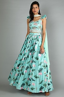 Powder Blue Printed & Embroidered Lehenga Set by Aayushi Maniar-POPULAR PRODUCTS AT STORE