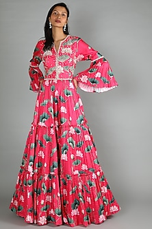Pink Printed Anarkali Gown by Aayushi Maniar-POPULAR PRODUCTS AT STORE