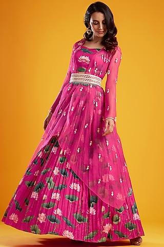 Pink Printed Lehenga Set by Aayushi Maniar