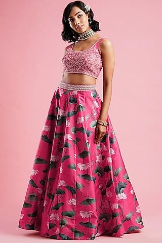 Pink Printed Kali Lehenga Set by Aayushi Maniar