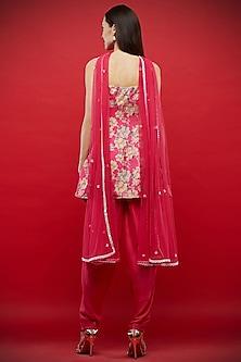 Fuchsia Embroidered & Printed Tunic Set by Aayushi Maniar