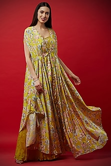Lemon Yellow Embroidered Bustier With Pants & Printed Cape by Aayushi Maniar