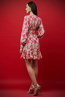 Fuchsia Printed Mini Dress by Aayushi Maniar