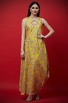 Yellow Printed & Embroidered Draped Tunic by Aayushi Maniar