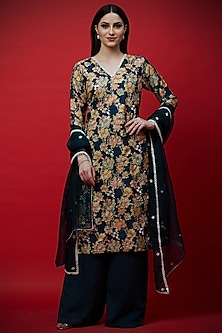 Navy Blue Embroidered & Printed Tunic Set by Aayushi Maniar