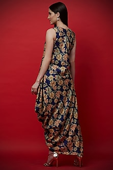 Purple Embroidered & Printed Draped Tunic by Aayushi Maniar