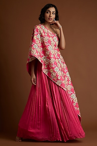Pink Embroidered Cape Lehenga Set by Aayushi Maniar