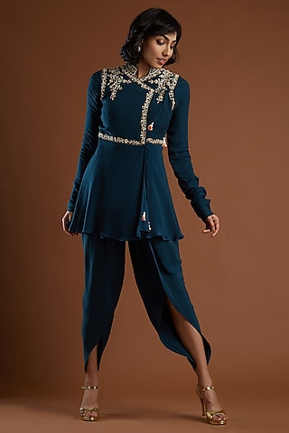 Navy Blue Embroidered Tunic With Pants by Aayushi Maniar