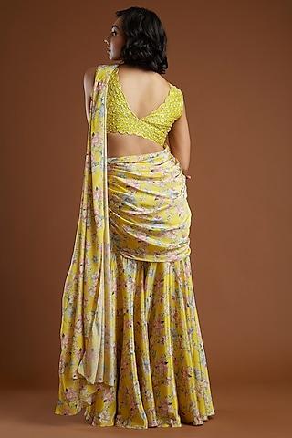 Yellow Printed Gharara Saree With Blouse by Aayushi Maniar