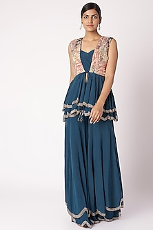 Navy Blue Embroidered Printed Jacket & Pants Set by Aayushi Maniar
