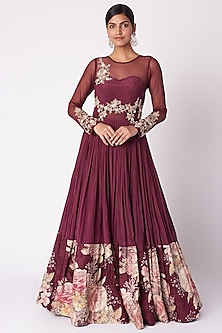 Wine Embroidered & Printed Gown by Aayushi Maniar
