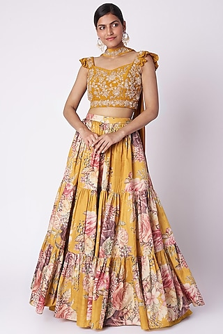 Mustard Yellow Embroidered & Printed Lehenga Set by Aayushi Maniar