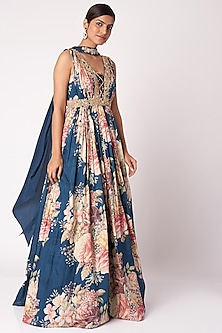 Navy Blue Embroidered & Printed Anarkali With Dupatta by Aayushi Maniar