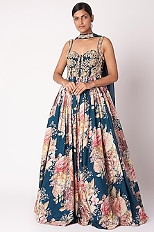 Navy Blue Embroidered Anarkali Set by Aayushi Maniar