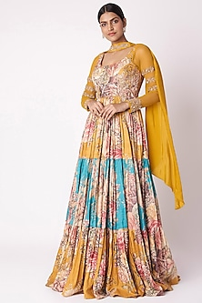 Yellow & Aqua Blue Embroidered Anarkali With Dupatta by Aayushi Maniar