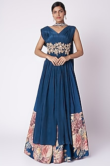 Navy Blue Embroidered & Printed Anarkali Set by Aayushi Maniar