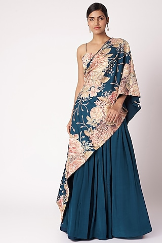 Navy Blue Embroidered & Printed Cape Lehenga Set by Aayushi Maniar