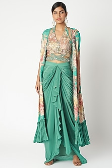 Aqua Blue Embroidered & Printed Cape Set by Aayushi Maniar
