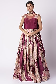 Wine Embroidered & Printed Anarkali With Dupatta by Aayushi Maniar