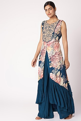 Navy Blue Embroidered & Printed Tunic With Palazzo Pants by Aayushi Maniar