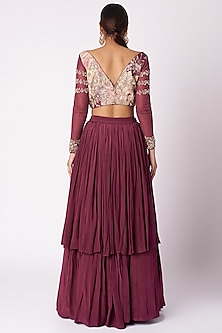 Wine Embroidered & Printed Skirt Set by Aayushi Maniar
