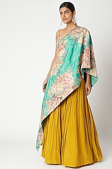 Aqua Blue & Mustard Yellow Embroidered Cape Set by Aayushi Maniar