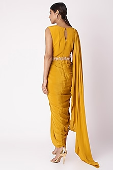 Mustard Yellow Embroidered Printed Draped Tunic by Aayushi Maniar