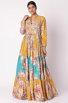 Mustard Yellow & Aqua Blue Embroidered Printed Gown by Aayushi Maniar