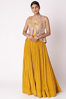 Mustard Yellow Embroidered & Printed Anarkali With Jacket by Aayushi Maniar
