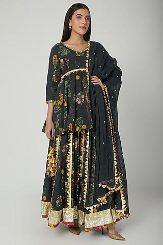 Black Embroidered & Printed Sharara Set by Ayinat By Taniya O'Connor
