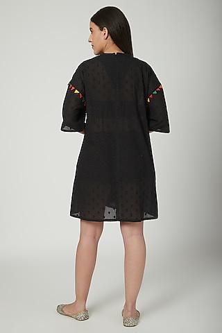 Black Polka Woven Dress by Ayinat By Taniya O'Connor