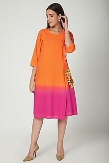 Orange Ombre Wrap Dress  by Ayinat By Taniya O'Connor