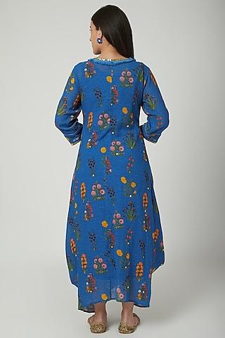 Cobalt Blue Printed Draped Dress by Ayinat By Taniya O'Connor